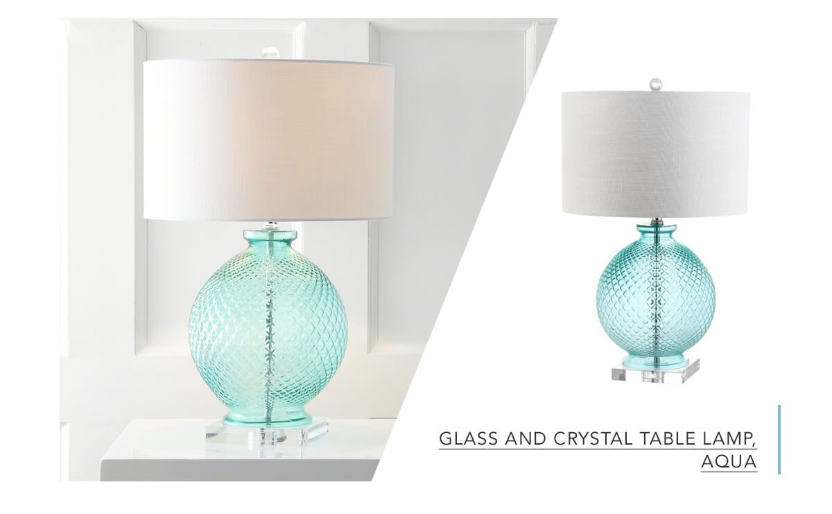 Glass and Crystal Table Lamp, Aqua   SHOP NOW