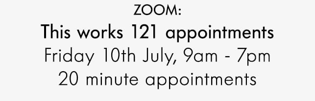 ZOOM: This works 121 appointments Friday 10th July, 9am - 7pm 20 minute appointments