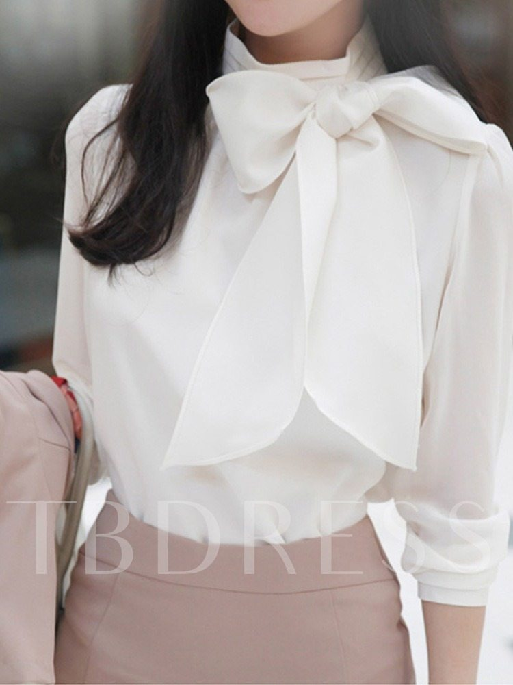 Plain Bowknot Long Sleeve Women's Blouse