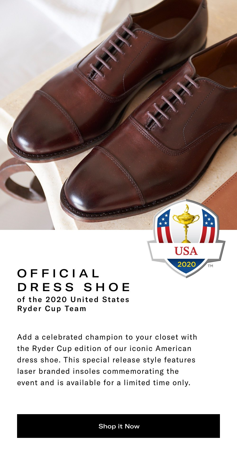Official Dress Shoe of the 2020 US Ryder Cup Team