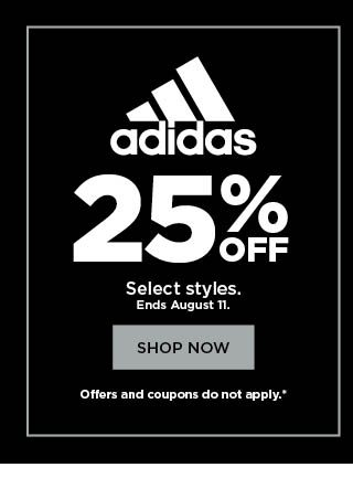 25% off adidas. Select styles. Shop now