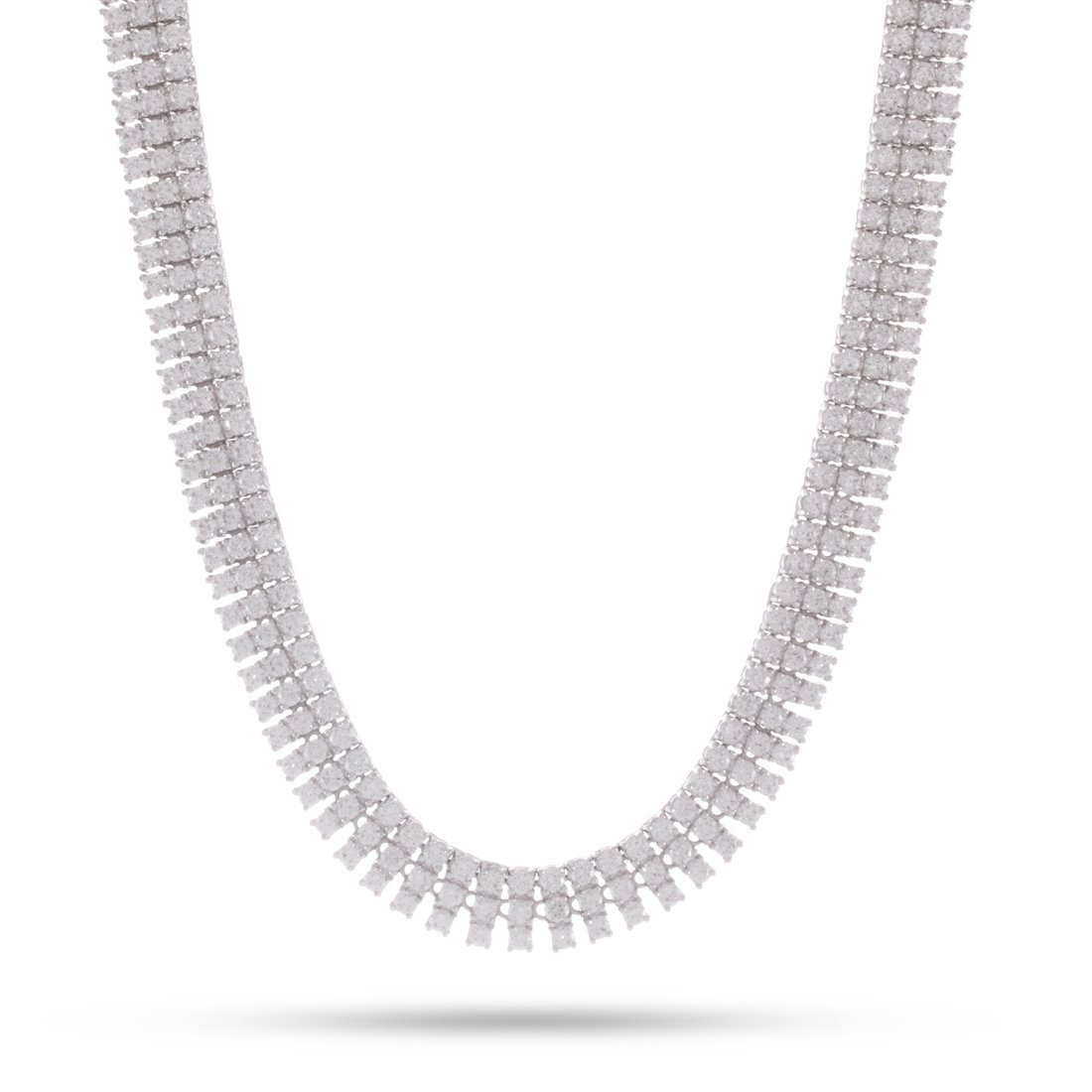Image of 3 Row White Gold Tennis Necklace