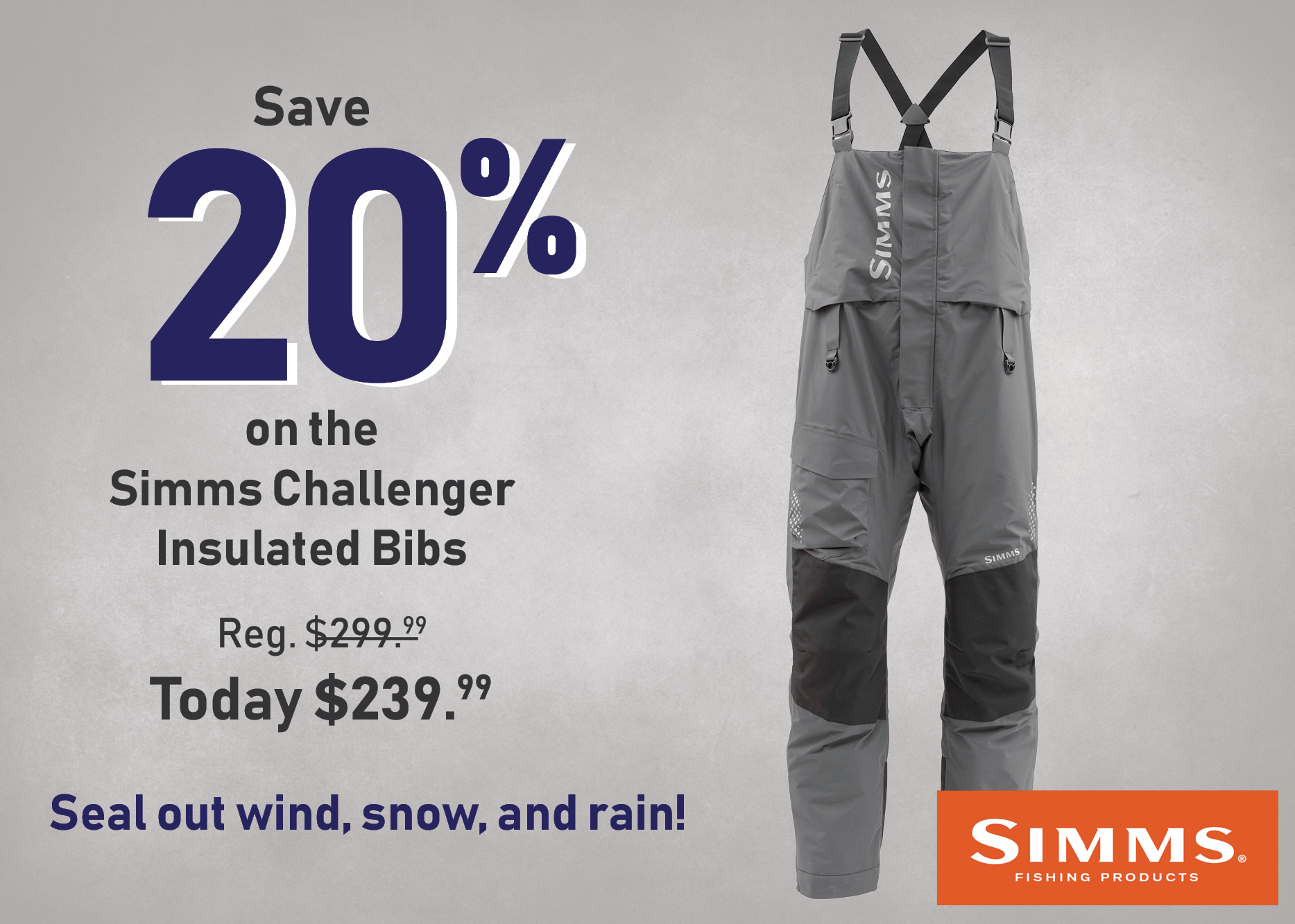 Save 20% on the Simms Challenger Insulated Bibs