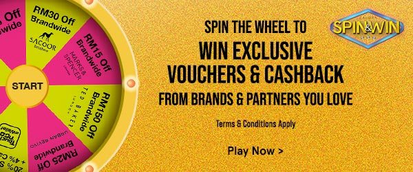 Spin The Wheel To Win Exclusive Vouchers & Cashback!