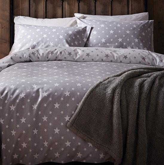 ff50ca9c534ca Star Grey Brushed Cotton Reversible Duvet Cover   Pillowcase Set