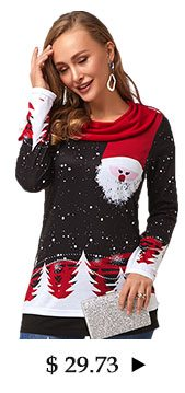 Christmas Print Embellished Neck Long Sleeve T Shirt