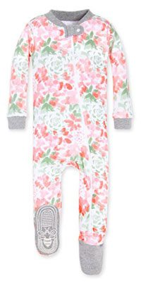Tossed Succulent Organic Baby Zip Front Snug Fit Footed Pajamas