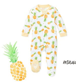 Maui Gold Organic Baby Zip Front Loose Fit Footed Pineapple Pajamas
