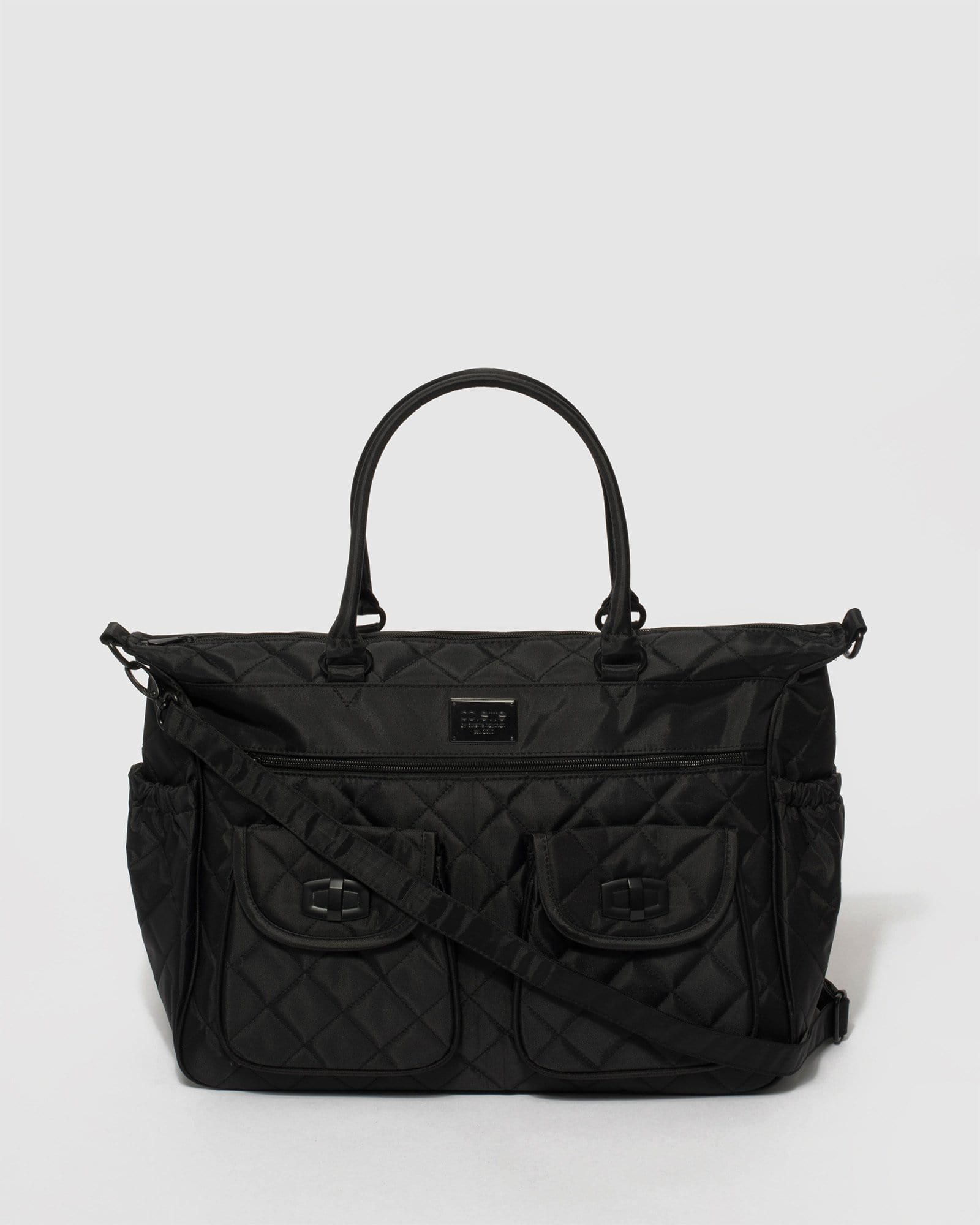 Image of Black Quilted Baby Travel Bag