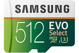 512GB Samsung EVO Select Up to 100MB/s Class 10 (U3) microSD Memory Card w/ SD Adapter, 10-year warranty