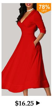 V Neck High Waist Half Sleeve Red Dress