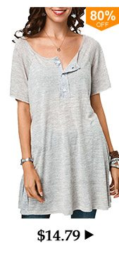Button Detail Short Sleeve Grey Tunic T Shirt