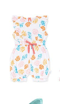 Watercolor Seashells Organic Baby Bubble Romper