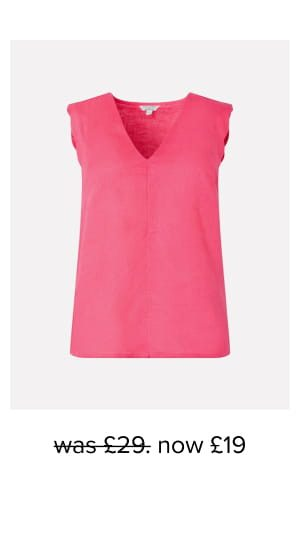 Lotus scalloped sleeveless top in pure linen pink