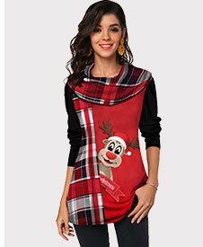 Christmas Elk and Plaid Print Long Sleeve T Shirt