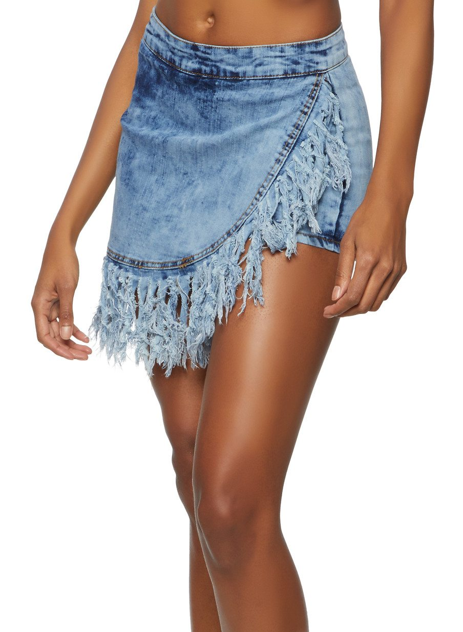 Fringe Denim Mini Skort