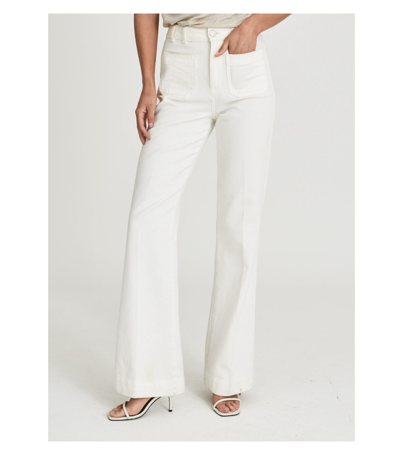 Isa White High Rise Flared Jeans