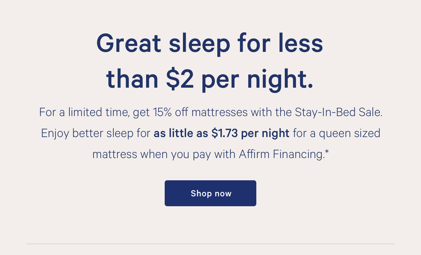 Great sleep for less than $2 per night.