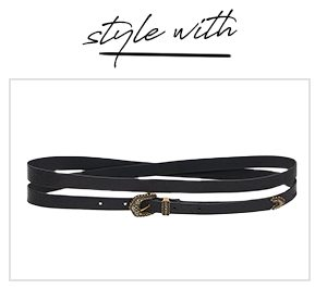 """""""style with"""" SKINNY DOUBLE WRAP BELT SOLID BLACK"""