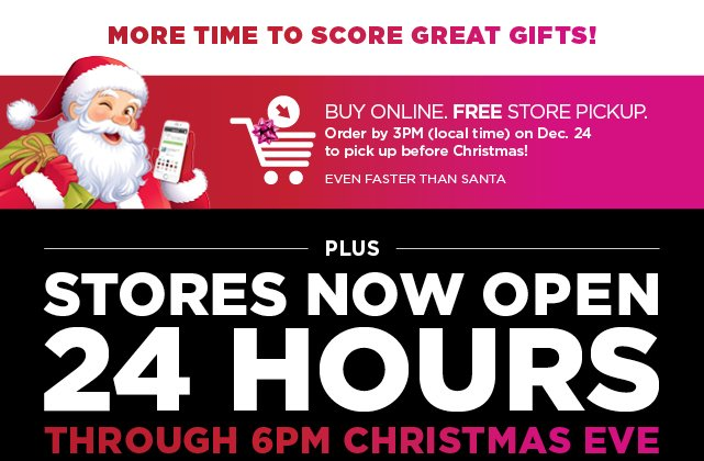 buy online free store pick up shop now - Christmas Eve Store Hours
