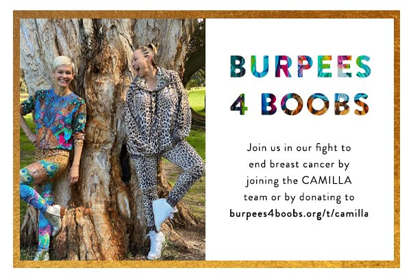 CAMILLA and Jessica Rowe in zenwear sets | Burpees 4 Boobs | Join us in our fight to end breast cancer by joining the CAMILLA team or by donating to burpees4boobs.org/t/camilla