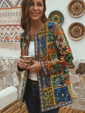 Ethnic Print Patchwork Cotton Jacket
