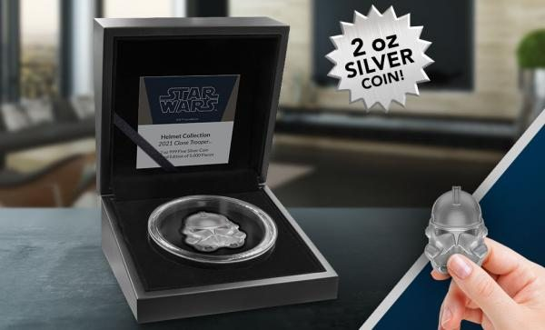Clone Trooper Helmet 2oz Silver Coin by New Zealand Mint