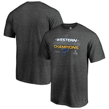 St. Louis Blues Fanatics Branded 2019 Western Conference Champions Locker Room T-Shirt – Heather Charcoal