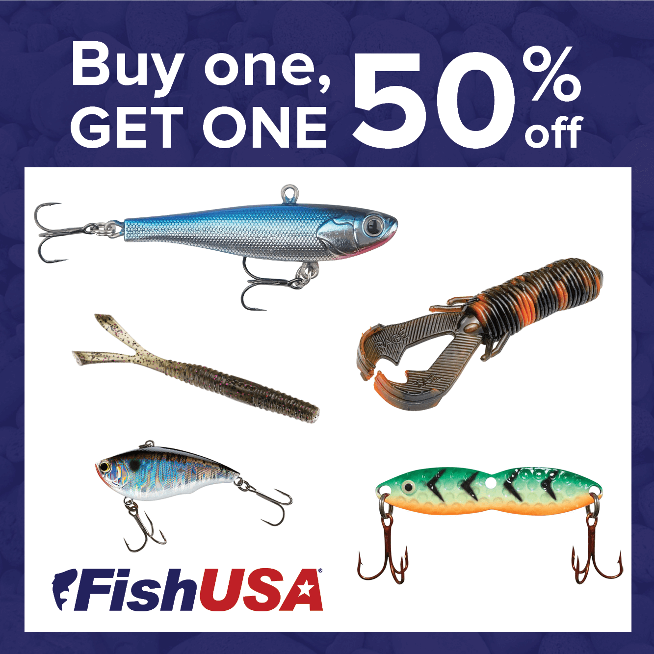 Lures & Baits Buy 1, Get 1 at 50% Off!