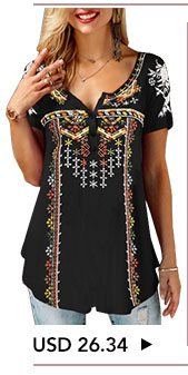 Black Button Front Printed Short Sleeve T Shirt