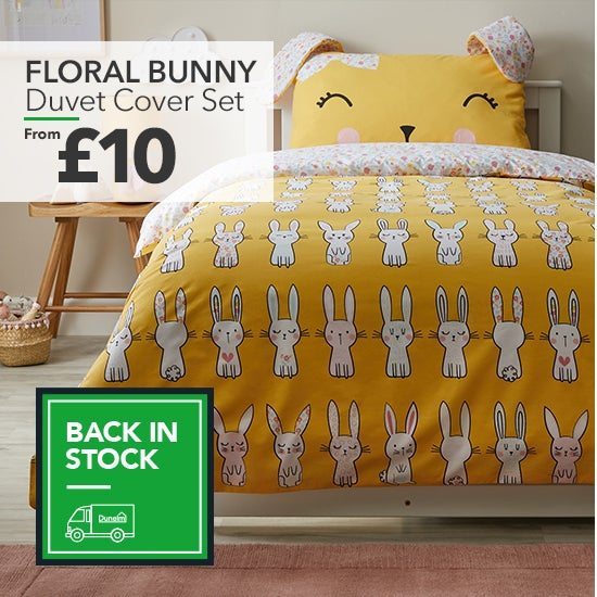 Floral Bunny Yellow Reversible Duvet Cover and Pillowcase Set