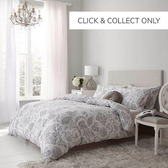Holly Willoughby Ayana Grey 100% Brushed Cotton Reversible Duvet Cover Set