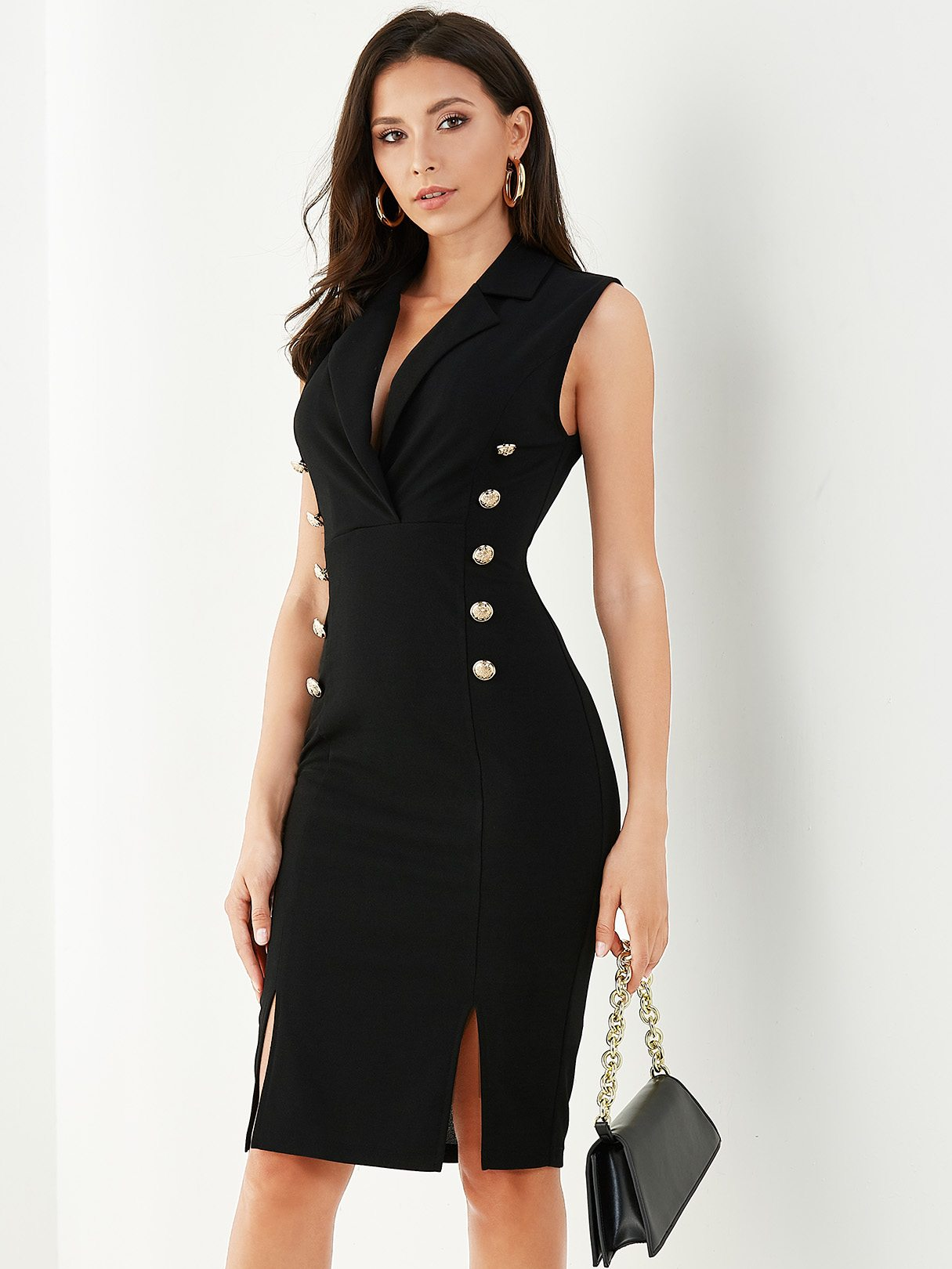 Black Button Design Lapel Collar Sleeveless Dress