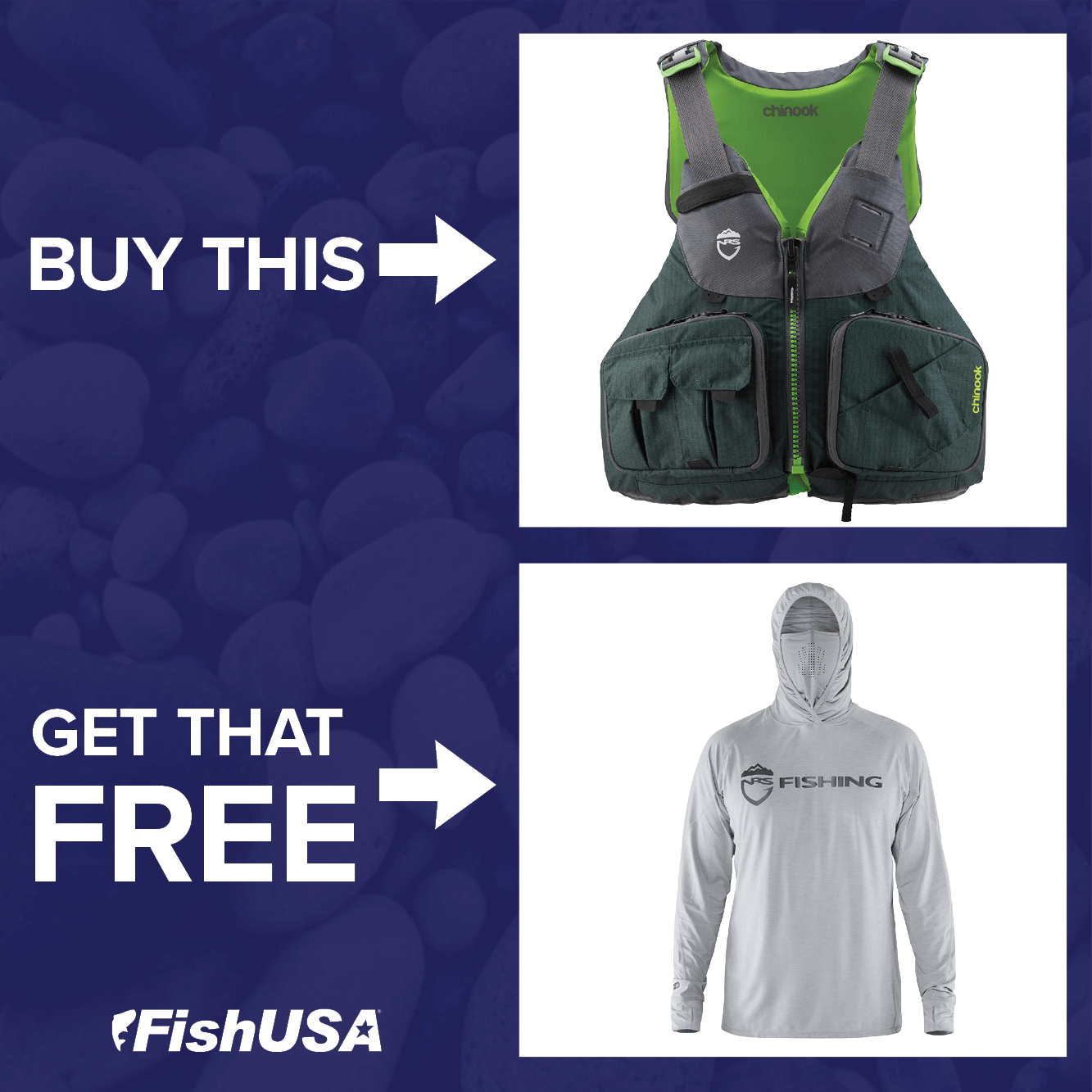 BUY an NRS Chinook Fishing Life Vest, GET an NRS Varial Hoodie FREE!