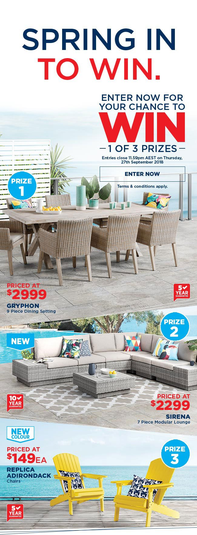 SPRING IN TO WIN. Enter now for your chance to win 1 of 3 prizes - Spring In To Win 1 Of 3 Outdoor Furniture Prizes! - Amart Furniture