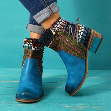 SOCOFY Cowgirl Retro Leather Boots