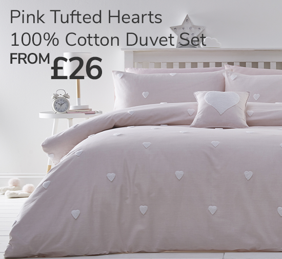 Pink Tufted Hearts 100% Cotton Duvet Cover and Pillowcase Set