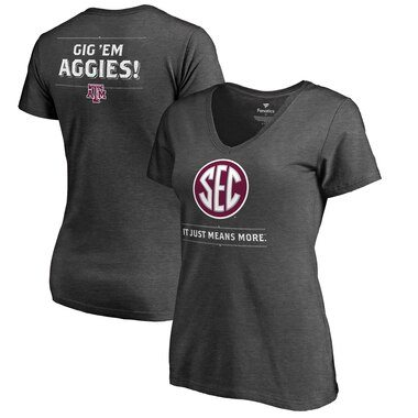 Texas A&M Aggies Fanatics Branded Women's SEC Means More V-Neck T-Shirt - Heathered Charcoal