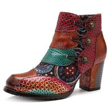 SOCOFY Vintage Buckle Leather Boots