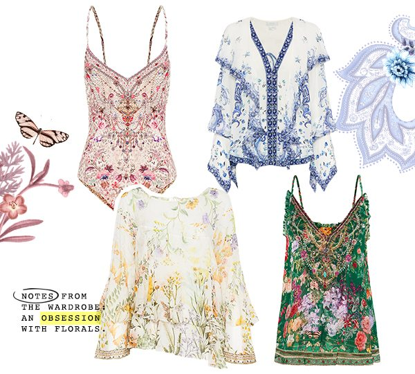 """""""Notes from the wardrobe: An obsession with florals."""" CAMILLA top, blouses and bodysuit."""