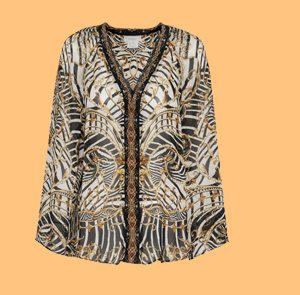 V NECK BLOUSE WITH NECKBAND NIGHT WAITING FOR DAY