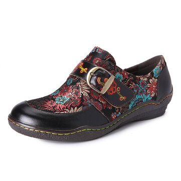 SOCOFY Embroidery Leather Slip On Shoes