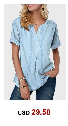 Split Neck Button Front Faux Denim Blouse