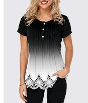 Crinkle Chest Scalloped Hem Lace Panel T Shirt