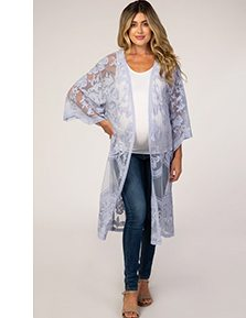 Shop The Grey Mesh Lace Maternity Cover Up