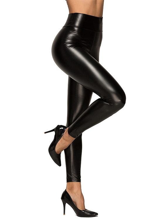Black Super Stretch Faux Leather Leggings