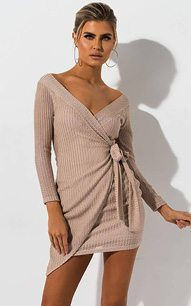 06daac8ed The AKIRA Label Fabulous II Off Shoulder Mini Dress is made from a knit  fabric with