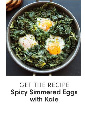 GET THE RECIPE - Spicy Simmered Eggs with Kale