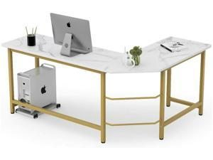 FUFU&GAGA Modern L-Shaped Home Office Gaming Table Workstation, White Faux Marble/Gold Metal Frame