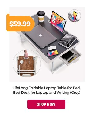 LifeLong Foldable Laptop Table for Bed, Bed Desk for Laptop and Writing (Grey)
